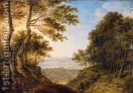 An Extensive Forest Landscape With Woodcutters by Herman Saftleven - Reproduction Oil Painting