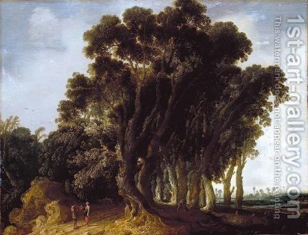 A Wooded Landscape With Travellers Resting, A Shepherd Tending His Flock Beyond by Jacob van Geel - Reproduction Oil Painting