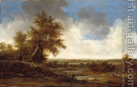 An Extensive Dune Landscape With A Mother, Her Child And Their Dog On A Country Road by Jacob van Mosscher - Reproduction Oil Painting