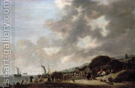 A Coastal Scene With Fishermen Unloading Their Catch Onto The Beach by Hendrick De Meijer - Reproduction Oil Painting