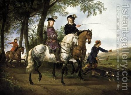 Landscape With A Hunt And A Portrait Of A Youth With His Tutor by Aelbert Cuyp - Reproduction Oil Painting