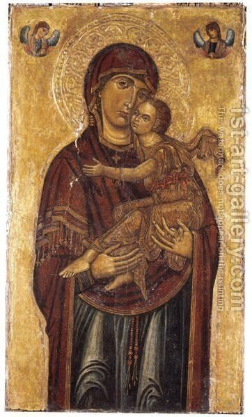 Madonna And Child With Two Angels Above by Italian School - Reproduction Oil Painting