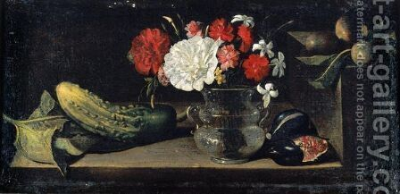 Still Life Of Flowers In A Glass Vase, Together With A Cucumber, Figs And Plums, All Arranged Upon A Stepped Stone Ledge by Neapolitan School - Reproduction Oil Painting