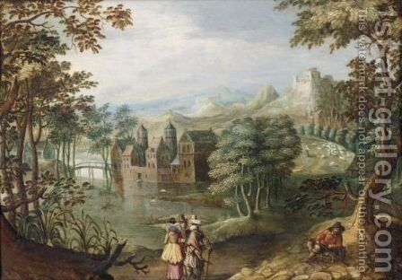 A Wooded Landscape With Two Cavaliers And A Lady Conversing Before A Lake, A Peasant To The Right by (after) Anton Mirou - Reproduction Oil Painting
