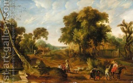An Extensive Landscape With Many Figures Passing Through A Village by (after) Pieter Van Der Hulst - Reproduction Oil Painting