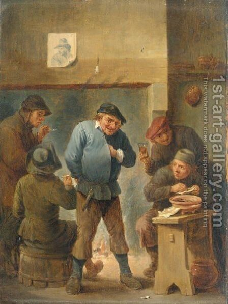 A Tavern Interior, With Boors Smoking And Drinking Before A Fireplace by (after)  David The Younger Teniers - Reproduction Oil Painting
