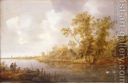 A River Landscape With A Moored Rowing Boat Being Unloaded, A Village And Windmill Beyond by Jan van Goyen - Reproduction Oil Painting