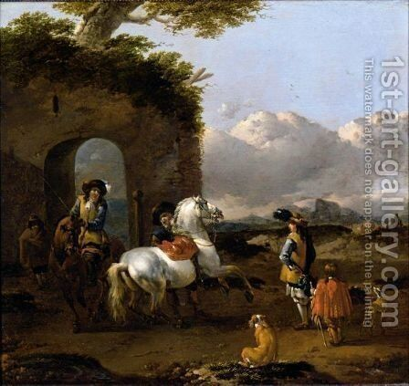 Italianate Landscape, With Cavaliers And The Horses Before Some Ruins by Jan Frans Soolmaker - Reproduction Oil Painting