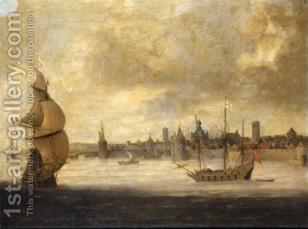 Capriccio View Of A Dutch Coastal Town With English Shipping by (after) Abraham De Verwer - Reproduction Oil Painting