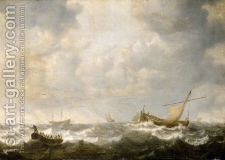 A Rowing Boat, A Small Sailing Vessel And Other Ships In Heavy Seas by Jan Porcellis - Reproduction Oil Painting