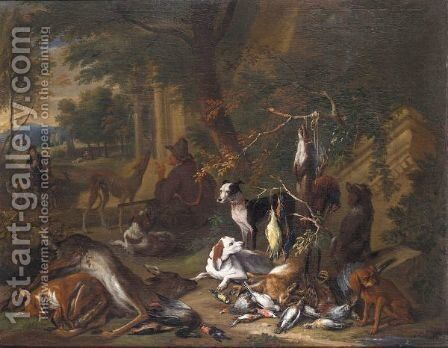 Still Life Of Game With A Huntsman Smoking A Pipe Together With His Hounds In A Landscape by Adriaen de Gryef - Reproduction Oil Painting