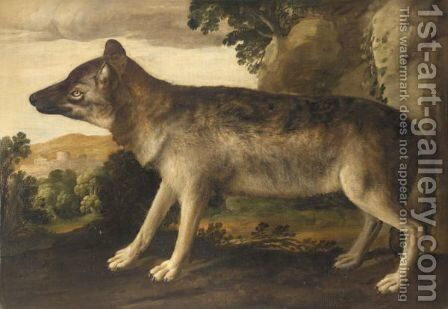 Portrait Of A Hound In A Landscape by Italian School - Reproduction Oil Painting