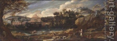 A Landscape With Drovers And Their Animals Beside A River, A Classical Town Beyond by (after) Pier Francesco Mola - Reproduction Oil Painting