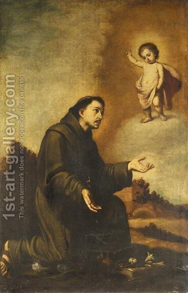 The Christ Child Appearing To Saint Anthony by (after) Murillo, Bartolome Esteban - Reproduction Oil Painting