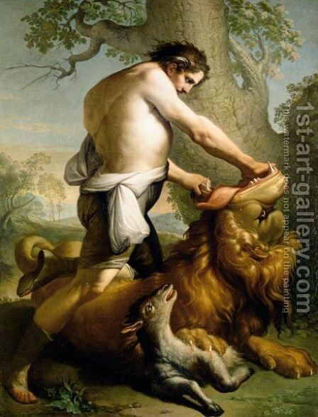 Samson Slaying The Lion by Italian School - Reproduction Oil Painting
