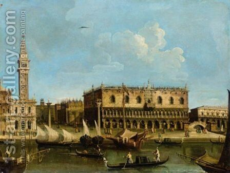 Venice, A View Of The Molo With The Piazzetta And The Palazzo Ducale by (after) Francesco Tironi - Reproduction Oil Painting