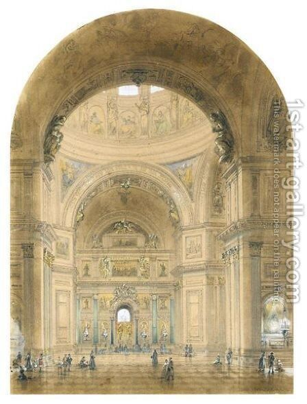 Interior Of St. Isaac's Cathedral by Iosef Iosefovich Charlemagne - Reproduction Oil Painting