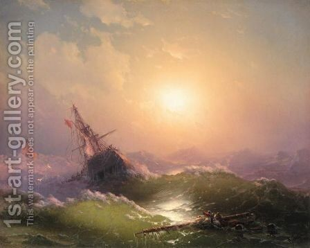 Shipwreck At Sunset by Ivan Konstantinovich Aivazovsky - Reproduction Oil Painting