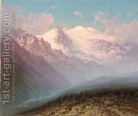 View Of Mount Elbrus In The Caucasus by Ilya Nikolaevich Zankovsky - Reproduction Oil Painting