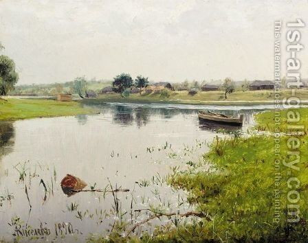 Landscape With Lake by Alexander Alexandrovich Kiselev - Reproduction Oil Painting
