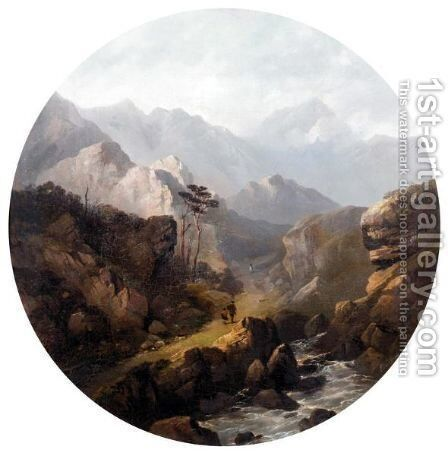 Figures In A Rocky Landscape by Edward Train - Reproduction Oil Painting