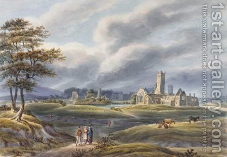 A landscape with figures and a church in the background by Count Alexandre Thomas Francia - Reproduction Oil Painting