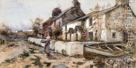Figure Outside A Country Cottage by James Hughes Clayton - Reproduction Oil Painting