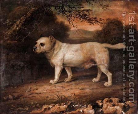 Dog In A Landscape by English Provincial School - Reproduction Oil Painting