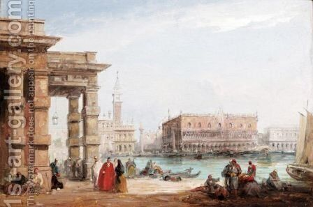A View Of The Doge's Palace, Venice by (after) Edward Pritchett - Reproduction Oil Painting