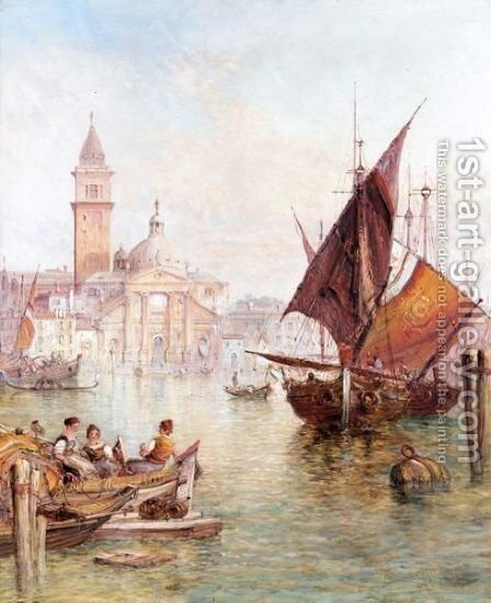 View Of San Giorgio Maggiore, Venice by Alfred Pollentine - Reproduction Oil Painting