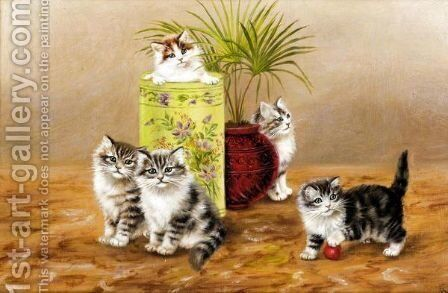 Mischievous Kittens by Bessie Bamber - Reproduction Oil Painting