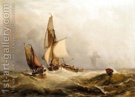 Sailing Boats In Stormy Seas by (after) George Chambers - Reproduction Oil Painting