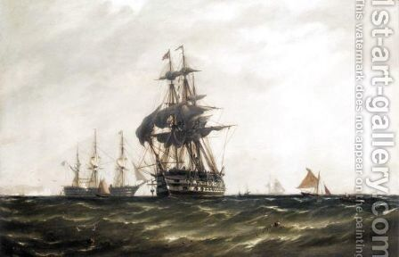 A Man-O-War Sailing Near Dover by (after) Richard Henry Nibbs - Reproduction Oil Painting