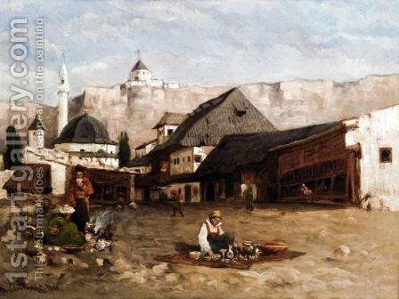 A Market Scene by Anton Chittussi - Reproduction Oil Painting