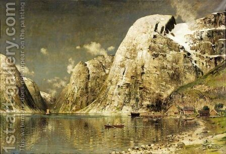 Roendes Pa En Fjord (Rowing On A Fjord) by Johann Holmstedt - Reproduction Oil Painting
