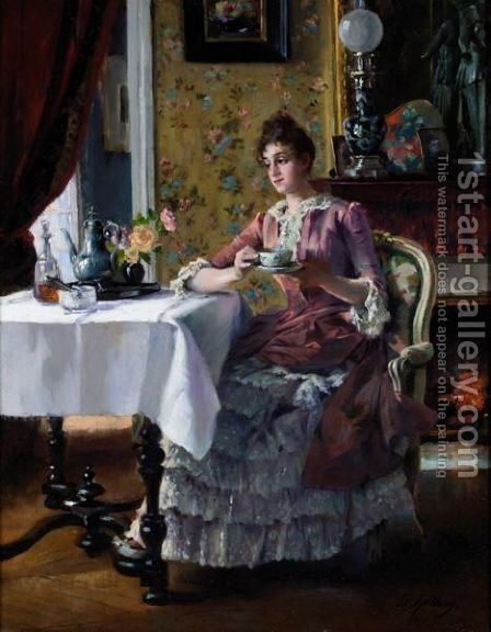 Tea Time by Edouard Gelhay - Reproduction Oil Painting