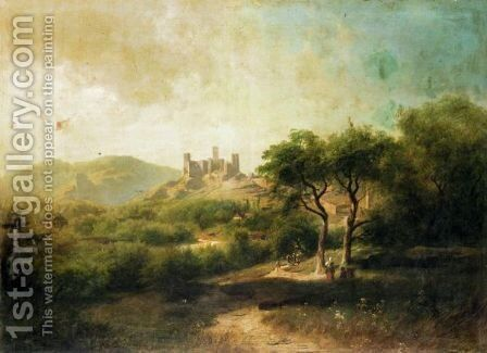 Landscape With A Castle In The Distance by August Schaeffer von Wienwald - Reproduction Oil Painting