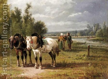 Landscape With Horses And Figures by Jules Jacques Veyrassat - Reproduction Oil Painting
