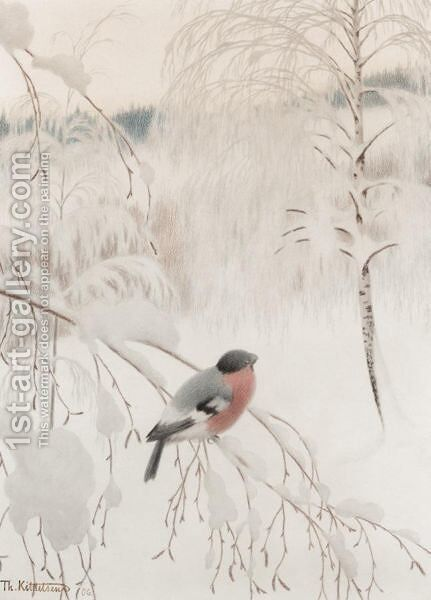 A Chaffinch In Snow by Theodor Kittelsen - Reproduction Oil Painting