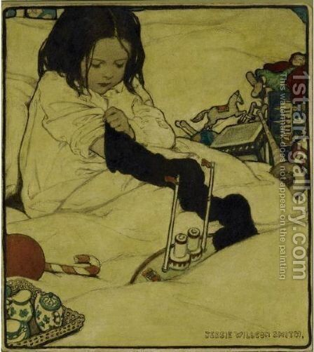 Young Girl Playing by Jessie Willcox Smith - Reproduction Oil Painting