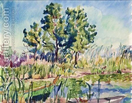 Reed Landscape With Boats by Giovanni Giacometti - Reproduction Oil Painting