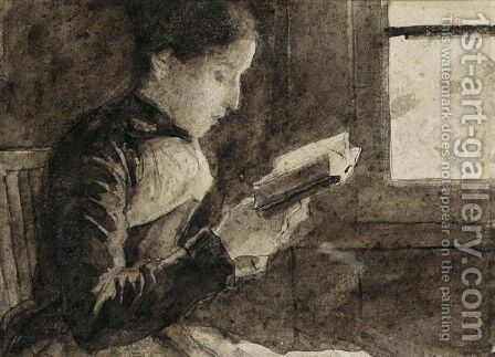 Reading Woman At The Window by Albert Anker - Reproduction Oil Painting