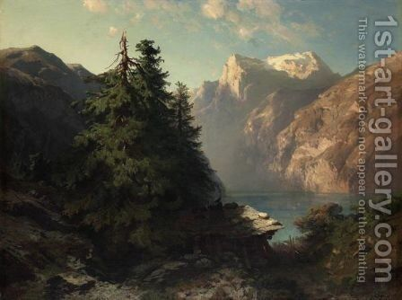 Lake Of The Four Cantons Close To Brunnen, 1857 by Alexandre Calame - Reproduction Oil Painting