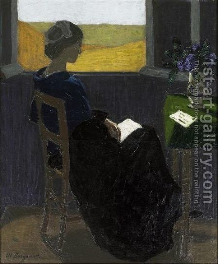 Young Woman Reading At The Window by Marius Borgeaud - Reproduction Oil Painting