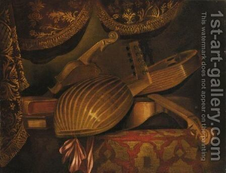 Natura Morta Con Strumenti Musicali by (after) Evaristo Baschenis - Reproduction Oil Painting