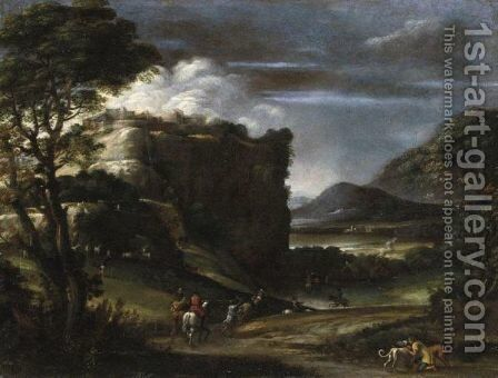 Paesaggio Con Scena Di Caccia by (after) Annibale Carracci - Reproduction Oil Painting
