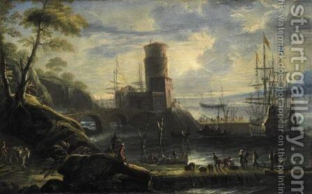 Marina All'Alba by Angelo Maria Costa - Reproduction Oil Painting