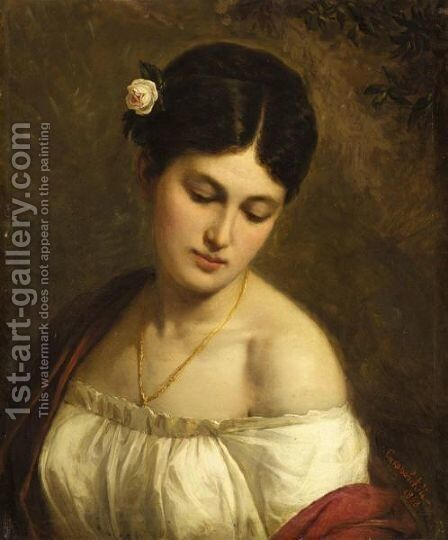 Portrait Of A Young Beauty by Martseli Gavrilovich Suchorovsky - Reproduction Oil Painting