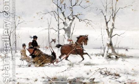 Winter Sleigh Ride by Alfredo Tominz - Reproduction Oil Painting