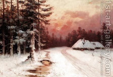 Winter Sunset 2 by (after) Iulii Iul'evich (Julius) Klever - Reproduction Oil Painting